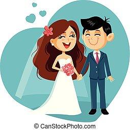 Happy VWedding Couple Vector Invitation