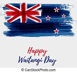 Happy Waitangi day - New Zealand holiday. Abstract painted...