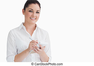 Happy waitress taking order