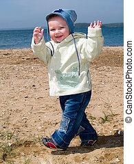 happy walking boy
