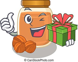 Happy walnut butter character having a gift box