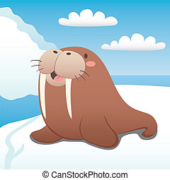 Happy Walrus - Cute walrus happy resting on floating iceberg
