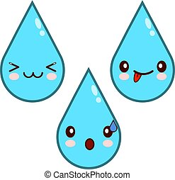 Happy Water Drop Cartoon Characters icon .Flat design Vector Illustration