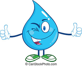 Happy Water Drop Character Giving A Double Thumbs Up