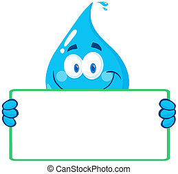 Water Drop Character Holding A Bann - Happy Water Drop...