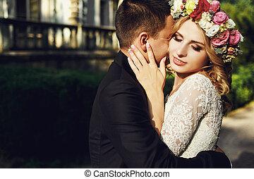 Happy wedding couple charming groom