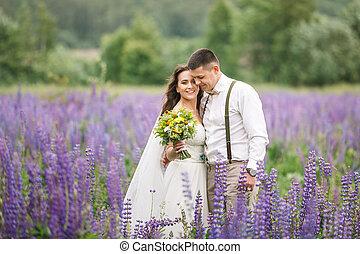 Happy wedding couple in lupin
