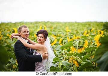 Happy wedding couple stands in the field of sunflowers