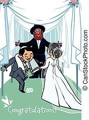 Happy wedding greeting card. Vector illustration - jewish...