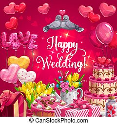 Happy wedding, heart cake, balloons and flowers