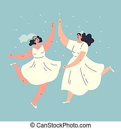 Happy wedding lesbian homosexual couple