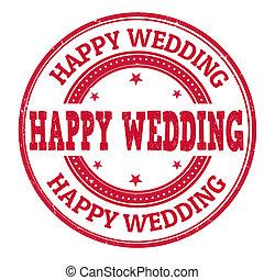 Happy wedding stamp