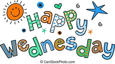 Happy Wednesday Cartoon Text Clipar - Hand drawn and colored...
