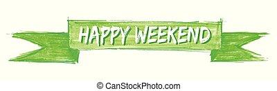 happy weekend ribbon