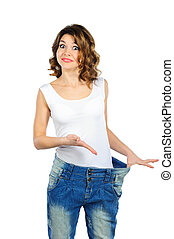 Happy weight loss woman isolated on white - Happy weight...