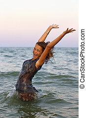 Happy wet teen girl