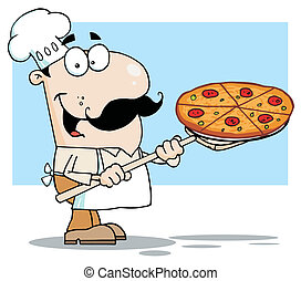 Chef Carrying A Pizza Pie - Happy White Chef Carrying A...