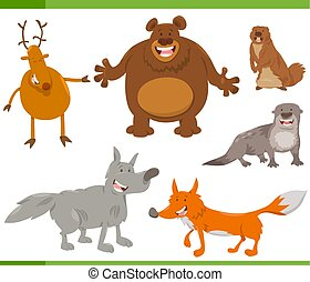 happy wild animal characters set - Cartoon Illustration of...