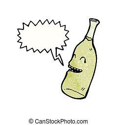 happy wine bottle cartoon character