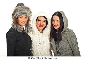 Happy winter friends women