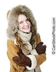 Happy winter girl in hood