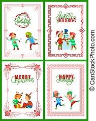 Happy Winter Holidays, Christmas Greeting Set