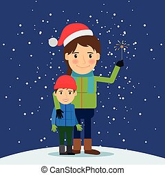 Happy winter time. Mom and son with fireworks