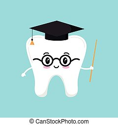 Happy wisdom tooth in glasses with pointer and black graduate hat.