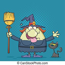 Happy Witch Cartoon Mascot Character Holding A Broom With Black Cat