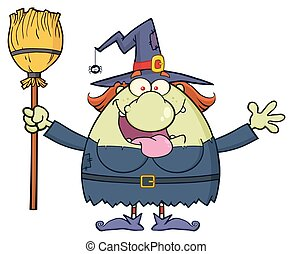 Happy Witch Cartoon Mascot Character Holding A Broom