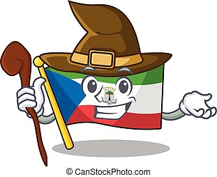 Happy Witch flag equatorial guinea Scroll cartoon character ...
