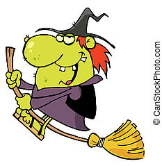 Happy Witch Rides Broom