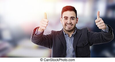 happy with expression of okay young man