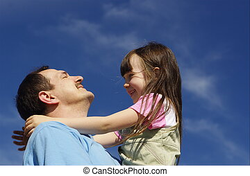 Happy with father