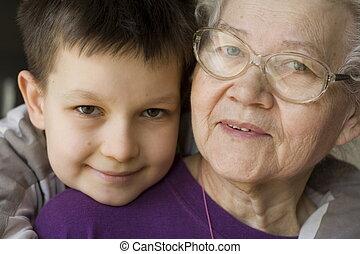 happy with grandma - boy with grandma