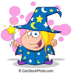 Happy Wizard Blonde Girl