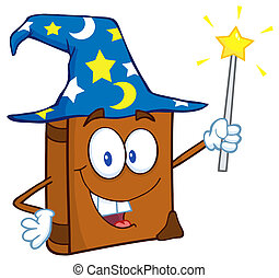 Happy Wizard Book Cartoon Character - Happy Spell Book With...
