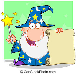 Happy Wizard Holding Up A Scroll - Happy Wizard Waving With...