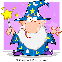 Wizard Waving With Magic Wand - Happy Wizard Waving With...