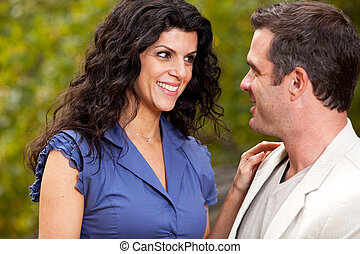 Happy Woman - A woman looking happy at her husband / ...