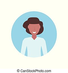 happy woman african american girl face avatar female cartoon character portrait flat isolated