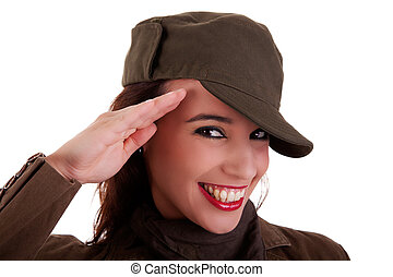 happy woman army soldier saluting isolated on white background. Studio shot