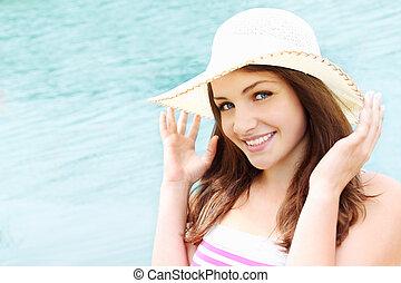 Happy woman at sea
