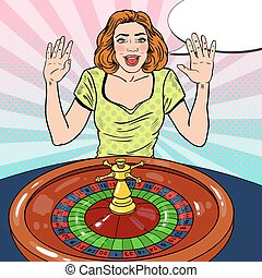 Happy Woman Behind Roulette Table Celebrating Big Win. Casino Gambling. Pop Art Vector retro illustration
