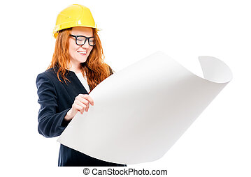 happy woman boss in yellow hard hat with drawings isolated