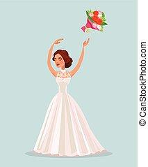 Happy woman bride character throwing bouquet flowers in wedding. Vector flat cartoon illustration