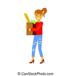 Happy woman carrying a brown shopping bag with food products. Shopping in grocery store, supermarket or retail shop. Colorful character vector Illustration