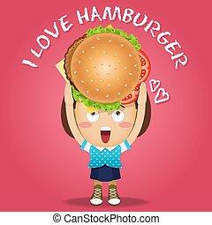 happy woman carrying big burger