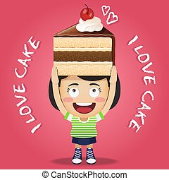 happy woman carrying big chocolate cake