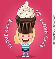 happy woman carrying big chocolate cupcake
